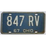 Vintage 1967 License Plate Ohio Hot Rod Muscle Car Historical Vehicle Garage 67