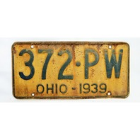 Vintage 1939 License Plate Ohio State Hot Rod Muscle Car Historical Garage 39