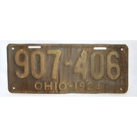 Vintage 1924 License Plate Ohio State Hot Rod Muscle Car Historical Garage 24