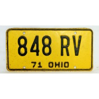 Vintage 1971 License Plate Ohio State Hot Rod Muscle Car Historical Garage 71