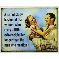 Funny Husband Wife Tin Metal Sign Dieting Humor BBW Weight Watchers Health Gym