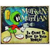 Marvin The Martian Tin Sign Looney Tunes Warner Bros Cartoon Comic D85