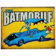 The Batmobile Tin Sign DC Comics Batman and Robin Vintage Style Dark Knight