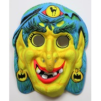 Vintage Gypsy Witch Halloween Mask Zest Bars 1960s Toppstone Costume