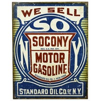 We Sell Socony Gas Tin Metal Sign Standard Oil New York Vintage Style B100