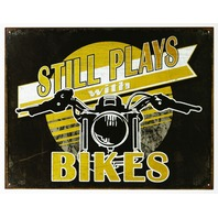 Still Plays With Bikes Tin Metal Sign Motorcycle V Twin Sturgis Bike Week Garage B45
