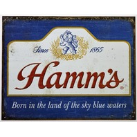 Hamms Beer Tin Metal Sign Brewery Stroh Olympia Brewing Beer Garage