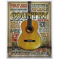Country Music Quotes and Sayings Tin Metal Sign Farm Barn Guitar E11