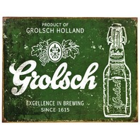 Grolsch Beer Tin Metal Sign Dutch Brewery Vintage Style Ad Green Bar