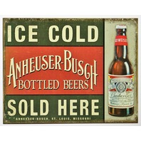 Ice Cold Anheuser Busch Beer Sold Here Tin Metal Sign Budweiser Vintage Style AD E14
