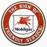 Mobilgas Round Tin Metal Signs Gasoline Gas Pegasus Vintage Style Gasoline Oil