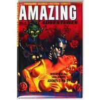Amazing Adventures Comic Book FRIDGE MAGNET Sci Fi Issue 4 Pin Up Girl Robot