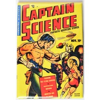 Captain Science Comic Book FRIDGE MAGNET Sci Fi Pulp Fiction Space Man Rocket