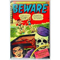 Beware Comic Book FRIDGE MAGNET Horror Pulp Skeleton Water Ski Speed Boat