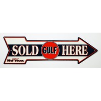Gulf Super No-Nox Oil Sold Here Arrow  Tin Metal Sign Standard Gas Seven Sisters