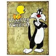 Sylvester and Tweety Bird Tin Metal Sign  Looney Toones Tunes Cartoon Bugs Bunny D18