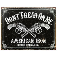 Dont Tread On Me American Iron Second Amendment Tin Metal Sign Hand Gun B62