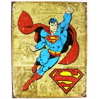 Vintage Style Superman Tin Metal Sign DC Comics Comic Book Hero Throwback D20