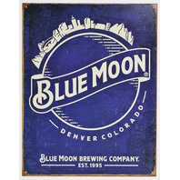 Blue Moon Brewing Company Denver Colorado Tin Metal Sign Bar Beer E135