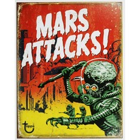 Mars Attacks Tin Metal Sign Topps Comic Book Movie Poster Aliens B5