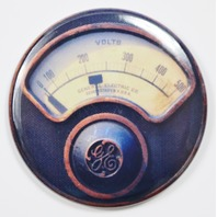 "General Electric GE Steampunk Gauge FRIDGE MAGNET Meter Vintage Style 2 1/4"" Rnd"