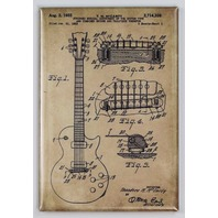 Gibson Les Paul Guitar Patent Drawing FRIDGE MAGNET drawing Blue print