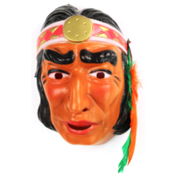 Vintage Indian Halloween Mask Cesar 1970's 80's Costume France Warrior Chief Y092