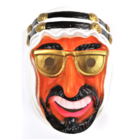 Vintage Arabian Sheik Halloween Mask Cesar 80's Costume France