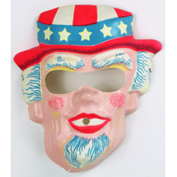 Vintage Uncle Sam Halloween Mask USA America 4th of July 1960s 70s Y088