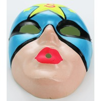 Vintage Superhero Star Man Halloween Plastic Mask Super Hero 1960s