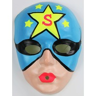 Vintage Superhero Star Man Halloween Plastic Mask Super Hero 1960s Y061