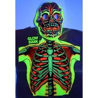 Vintage Collegeville Glow in the Dark Skeleton Halloween Mask and Costume Skull Monster 1986