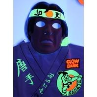 Vintage Collegeville Glow in the Dark Karate Halloween Mask Costume Ninja MMA 1986