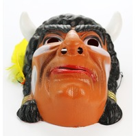 Vintage Indian Chief Halloween Mask Cesar 80's Costume France Warrior Chief Scout