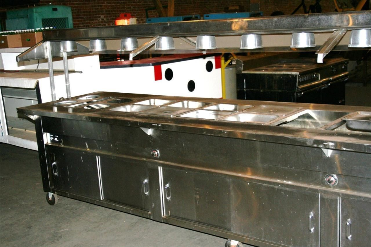 Restaurant Equipment Hot Salad Bar Check Out Food Prep Counter Garland Stove