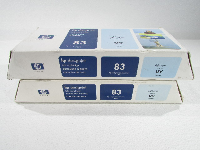 LOT OF (2) GENUINE HP DESIGNJET 5000 C4944A LIGHT CYAN 2-21-2015, 2-10-2009 SEALED