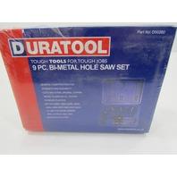NEW DURATOOL 9 PC BI-METAL HOLE SAW SET P/N D00260