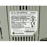 * ALLEN BRADLEY POWERFLEX 40P 22D-D4P0N104 22-RF012-BS AC DRIVE 2HP 480VAC 3PHASE