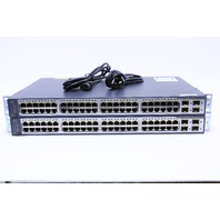 LOT OF (2) CISCO WS-C3750V2-48PS-S V08 PoE-48 ETHERNET SWITCH
