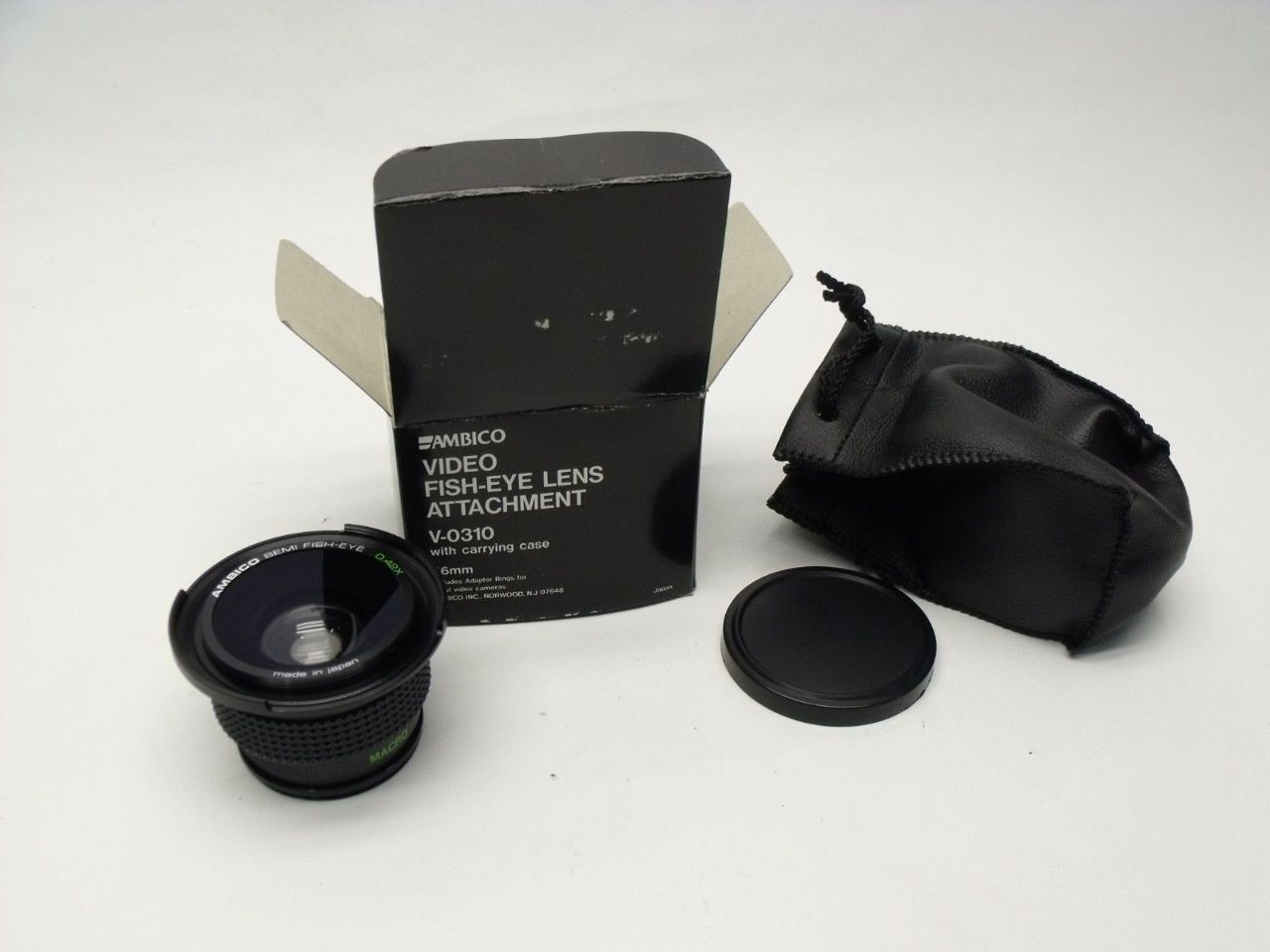 New Ambico Video FishEye V-0310 46mm LENS Attachment + Carrying Case