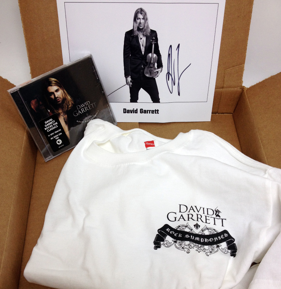 NEW David Garrett Deluxe Fan Pack: SMALL T-shirt, Rock Symphonies CD, Autographed Picture