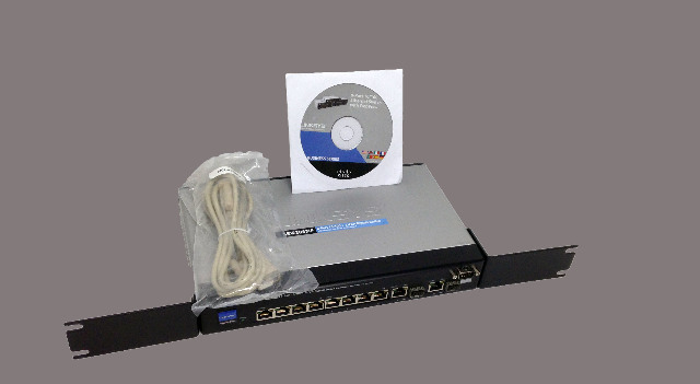 Cisco SRW208MP Linksys 8-Port 10/100 + 2-Port Gigabit Switch w/CD P/S and Cable