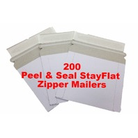 NEW 200 pcs Peel & Seal Mailers 6-3/8 X 6 Photo StayFlat Cardboard ZIPPER Mailer