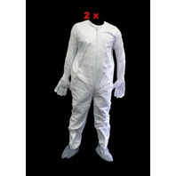 3- DuPont Tyvek White XL Disposable Coverall with gloves and elastic cuff, boots