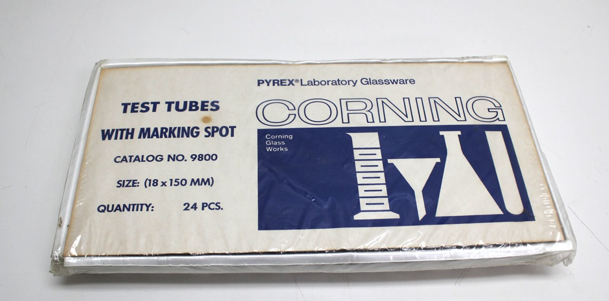 New! Lot of 24 Corning Pyrex  Test Tubes with Marking Spot 18x150mm 9800-18