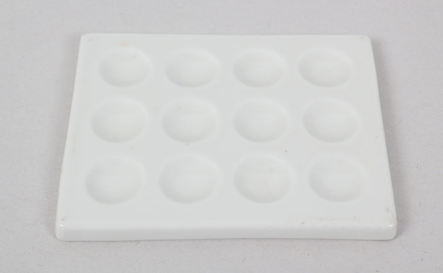 Lot of 3  Ceramic Porcelain Spot Plate 12 Wells 118x94mm