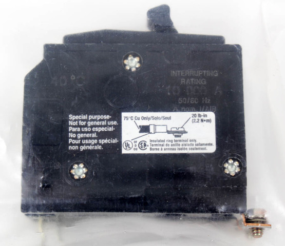 Applied Materials AMAT 2-Pole 120/240VAC 15A Insulated Ring Terminal Breaker
