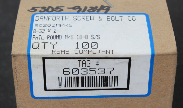 "Lot of 100 Danforth Screw & Bolt 8-32x2"" SS Machine Screw w Round Head 8C200MPRS"