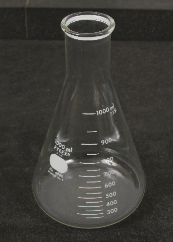 Corning Pyrex 1000mL Narrow Mouth Erlenmeyer Flask w/ Heavy Duty Rim 4980-1L
