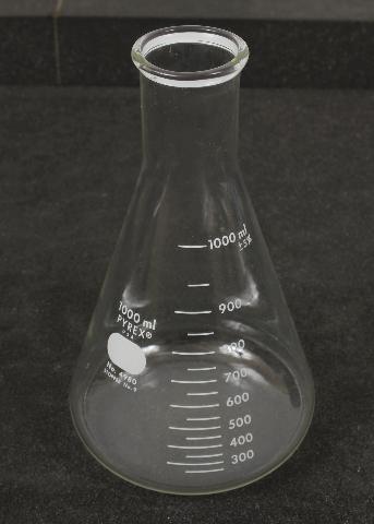 Corning Pyrex 1000mL Narrow Mouth Erlenmeyer Flask w/ Heavy Duty Rim 4980-1L